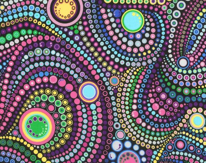 Robert Kaufman Fabric - Effervescence - Mardi Gras Circles & Dots 108in Wide Back # AAQXD18493297 Cotton Woven Fabric