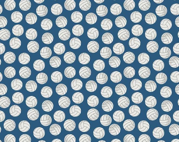 Riley Blake Fabrics - Varsity - Volleyballs on Blue - Cotton Woven Fabric