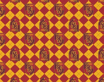 Camelot Fabric - Licensed JK Rowlings Harry Potter -  Red Argyle Griffindor Crest on Flannel # 23800122B-1-100% Cotton Flannel