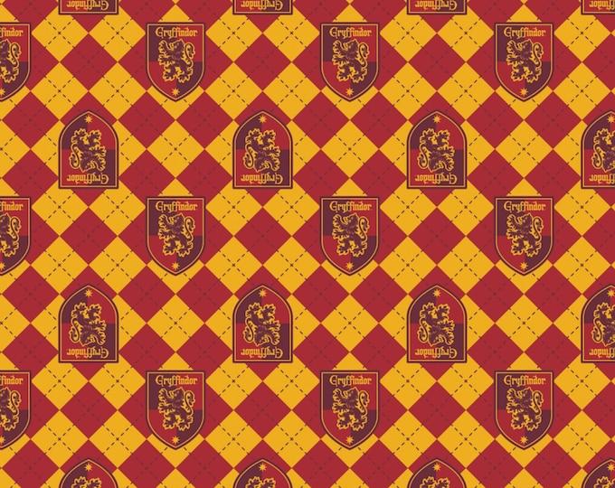 Red Argyle Griffindor Crest on Flannel # 23800122B-1-Licensed JK Rowlings Harry Potter 100% Cotton Flannel by Camelot