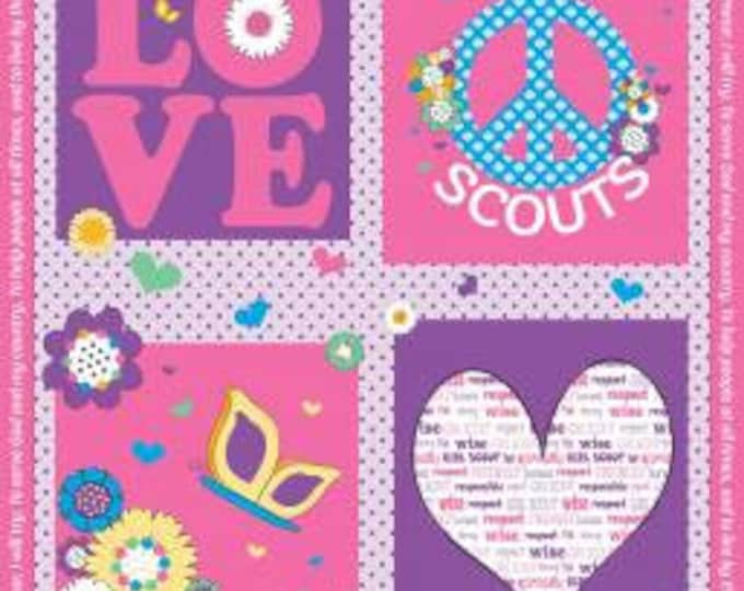 Riley Blake Fabric - Licensed Girl Scout Panel on Pink Cotton Woven Fabric