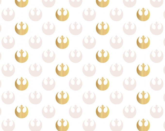 Camelot Fabrics - Star Wars Watercolor - White Rebel Logo with Metallic # 73010505L-1 - Cotton Woven Fabric