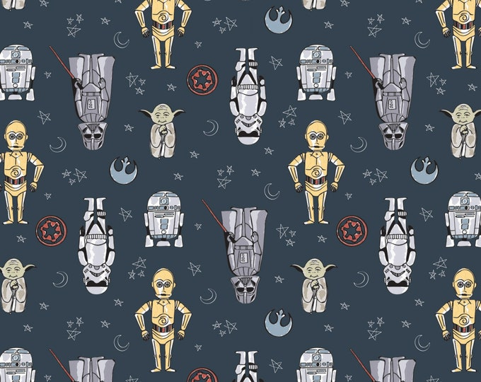 Camelot Fabrics - Licensed Star Wars - Doodle Figures Blue # 73010803-2 - Cotton Woven Fabric
