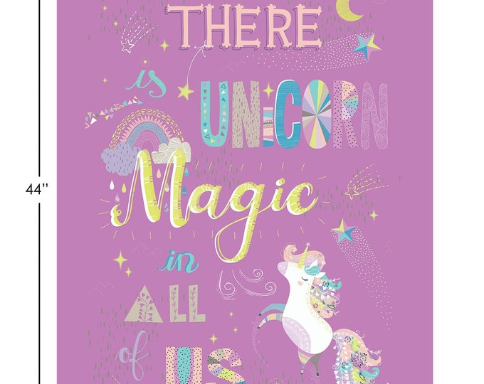 "Camelot Fabrics - Out of This World Glow - Unicorn Magic 36"" Panel in Purple - Glow in the Dark Cotton Woven Fabric"