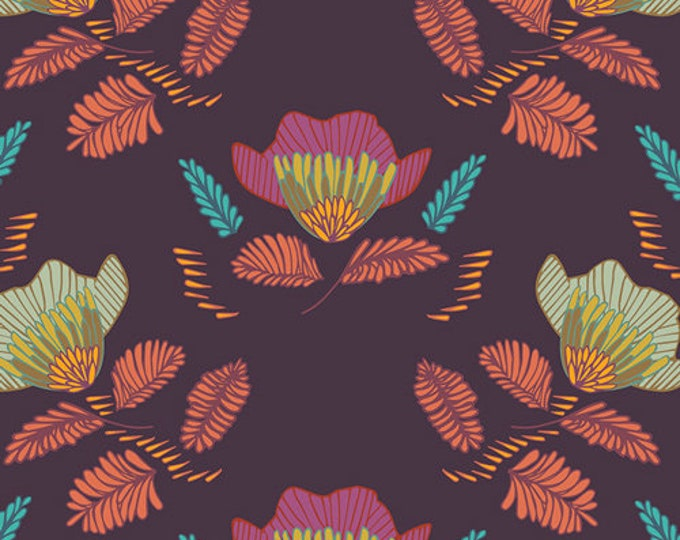 Art Gallery Fabrics - Autumn Vibes - Pressed Ablossom - Royal -  Cotton Woven Fabric - Maureen Cracknell