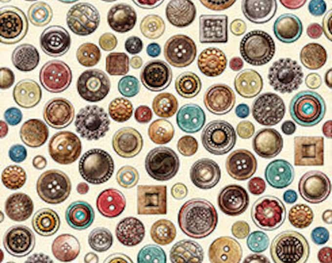 Quilting Treasures - Seamless by Dan Morris - Buttons on Cream - Cotton Woven