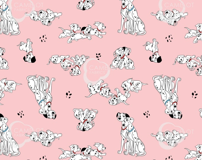 Camelot - Licensed 101 Dalmatians Family Portraits - Pongo, Perdy & Puppies in Pink #85010201-1 Cotton Woven Fabric
