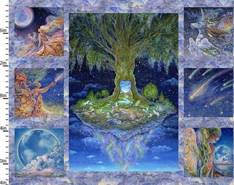 """3 Wishes Fabric - Celestial Journey by Josephine Wall - 34"""" Panel Journey Tree 17130-MLT-CTN-D - Digitally Printed Cotton Woven Panel"""