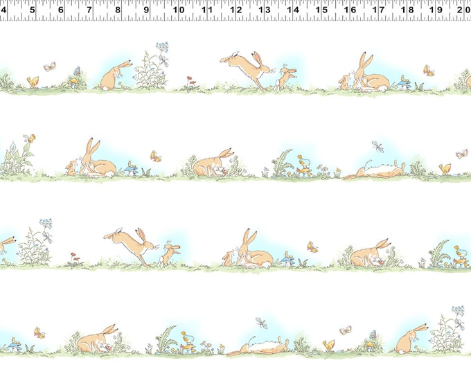 Guess How Much I Love You - Bunny Stream Stripes - White -  Cotton Woven Fabric - Clothworks Y-2517-1