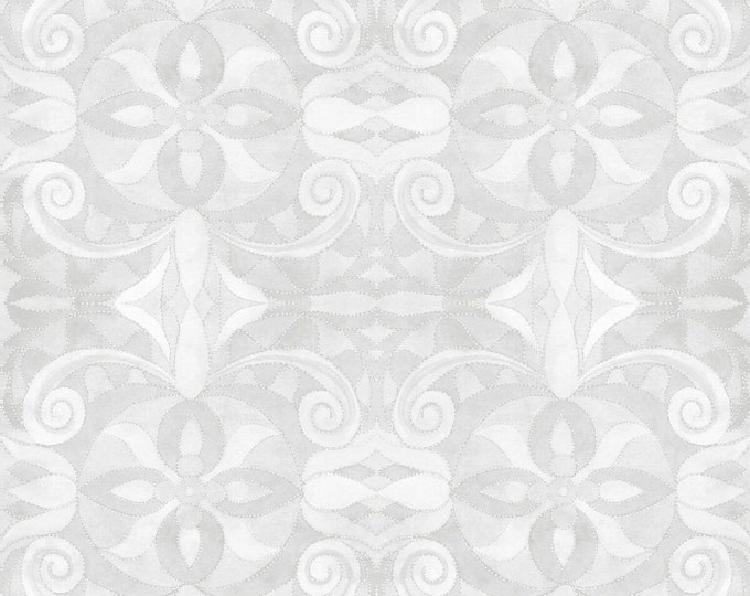 """Blank Quilting - Baroque 108"""" Wideback - Lt Grey #9777-90 Digitally Printed Cotton Woven Fabric"""