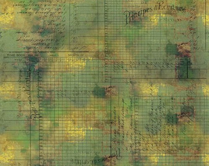 Free Spirit - Eclectic Elements - Abandoned by Tim Holtz - Principal Methods - Moss PWTH132.MOSS - Cotton Woven Fabric