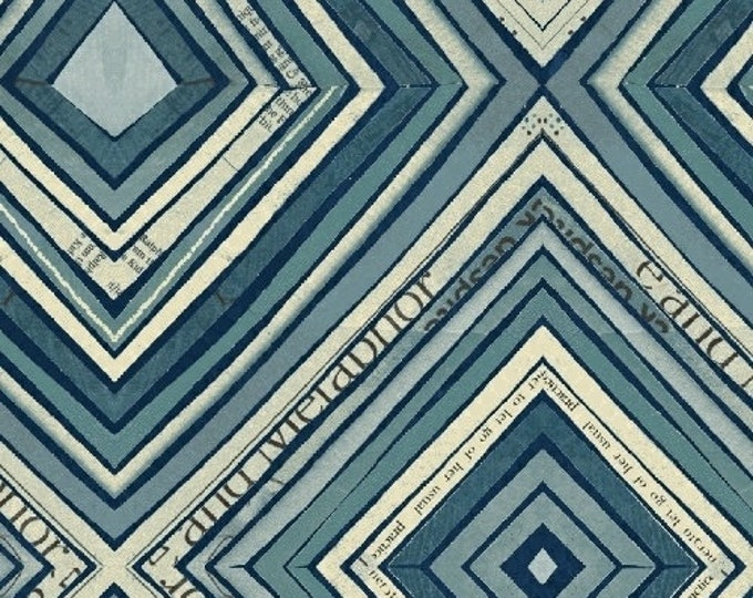 Windham Fabrics - Wonder by Carrie Bloomston -   Zig Zag Blue 50520-2 Cotton Woven Fabric