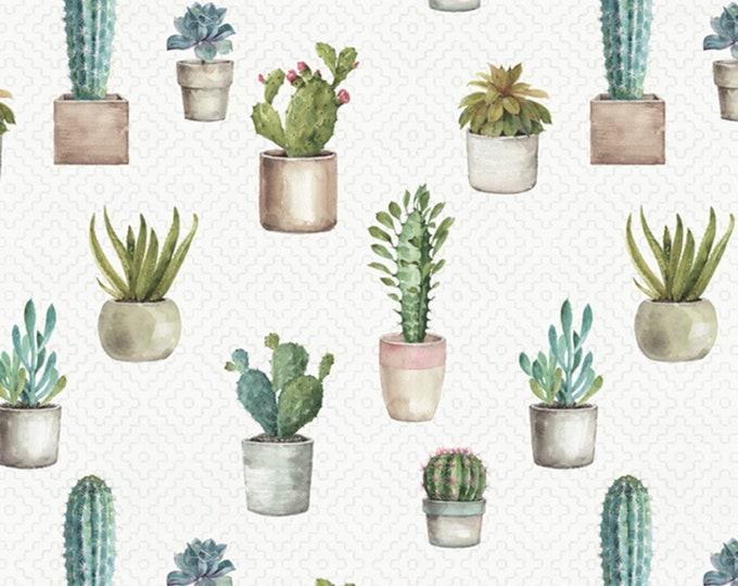 David Textiles - Cactus Garden by Lisa Audit - Natural Cactus Verde # LA01788C1   Cotton Woven Fabric