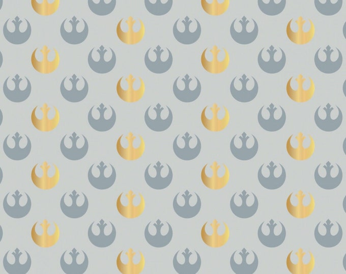 Camelot Fabrics - Star Wars Watercolor - Grey Rebel Logo with Metallic # 73010505L-4 - Cotton Woven Fabric