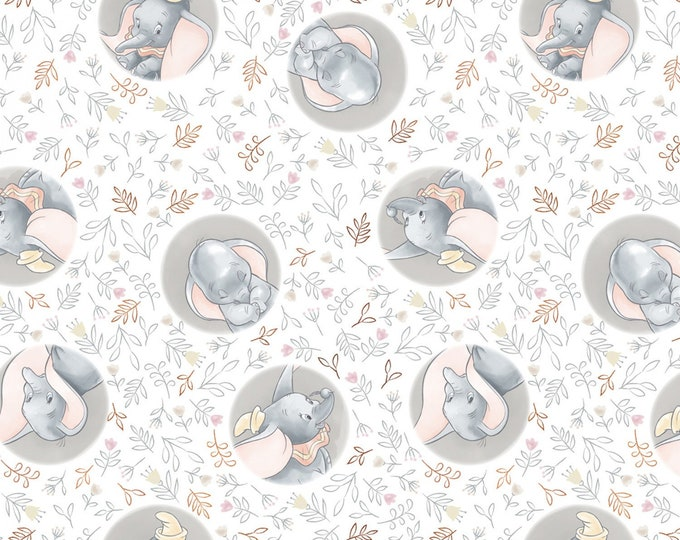 White Disney Sweet Dumbo w/Metallic Copper Cotton Woven Fabric -  # 85160109L-1 - Disney Sentimental by Camelot