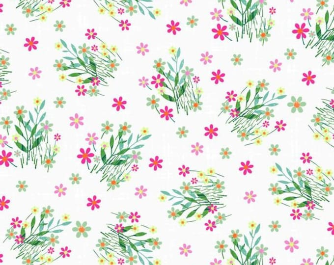 Blank Quilting- Panda Park - Pandas with Bamboo & Flowers on White #9480-01 Cotton Woven Fabric
