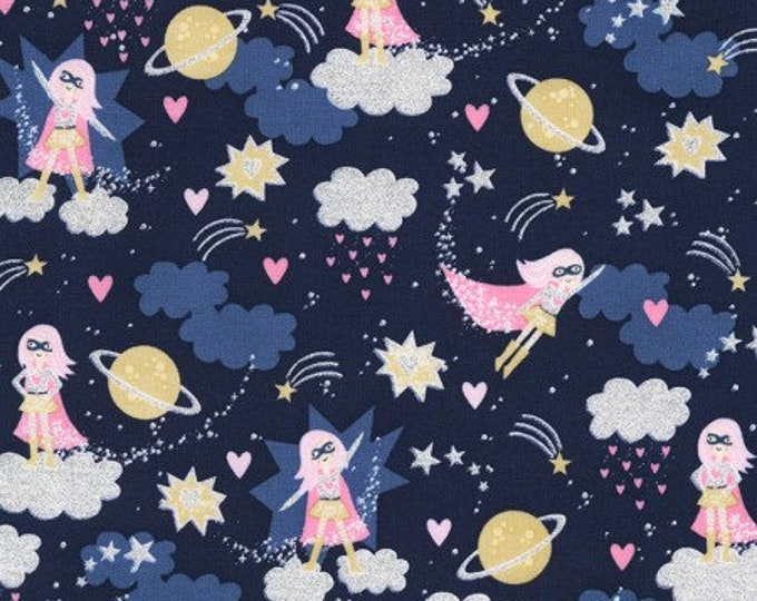 Timeless Treasures  - Navy Super girl in Space CM6618 Metallic Cotton Woven Fabric