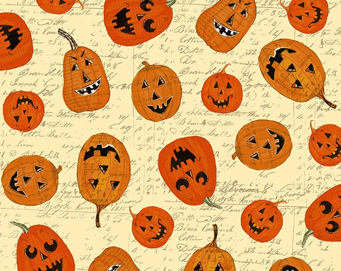 Clothworks - Something Wicked - Pumpkins on Pale Script - Cotton Woven Fabric - y2426-59