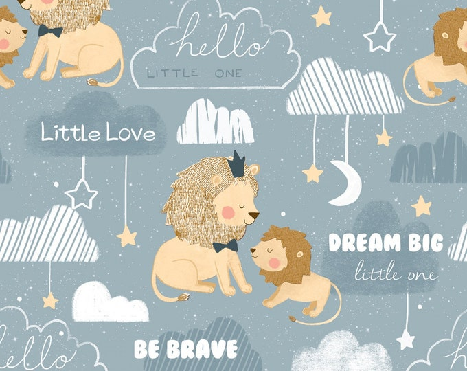3 Wishes Fabric - Little Lion - Be Brave # 16058-BLU - Cotton Woven Fabric