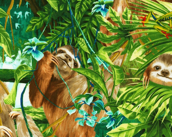 Timeless Treasures - Realistic Sloths Cotton Woven Fabric