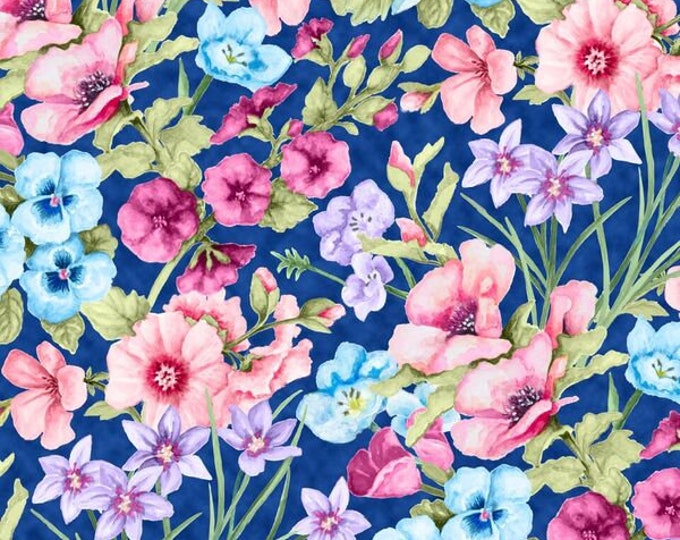 Blank Quilting - Papillon Parade by Janice Gaynor - Large Floral #9366-77 Cotton Woven Fabric
