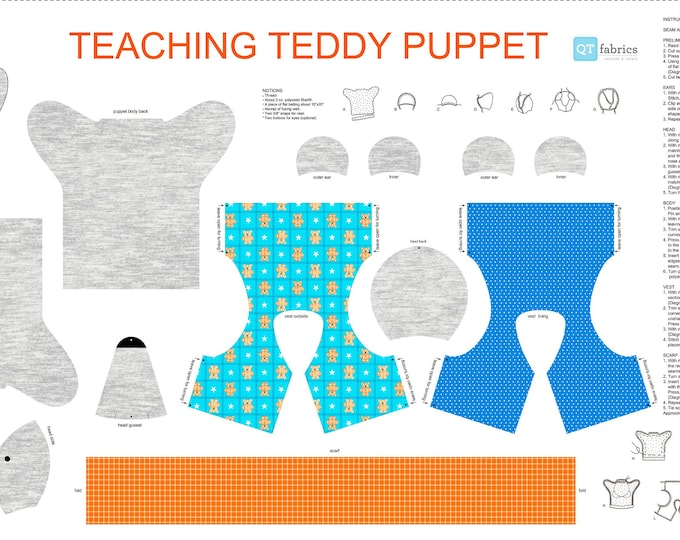 """Quilting Treasures - Sew N Go IX - Gray Teaching Teddy Puppet 27280 K - 24"""" Panel - Cotton Woven Fabric"""