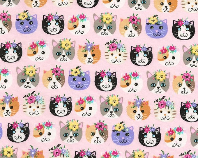 Timeless Treasures - Cat heads on pink cotton woven fabric
