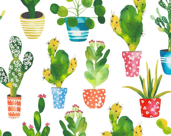 Timeless Treasures - Cacti  #West-C7216-White Cotton Woven Fabric