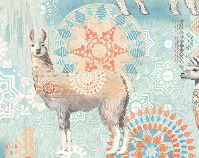 Timeless Treasures - Llamas JB-C7196-Aqua Cotton Woven Fabric