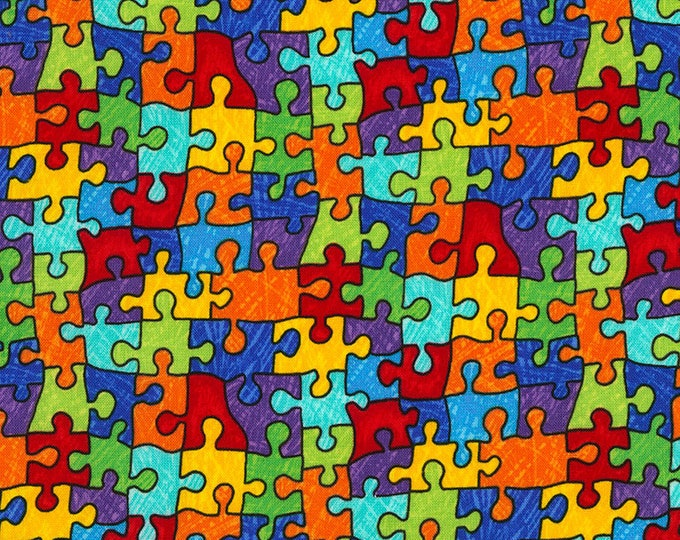 Rainbow Puzzle Pieces Cotton Woven by TImeless Treasures