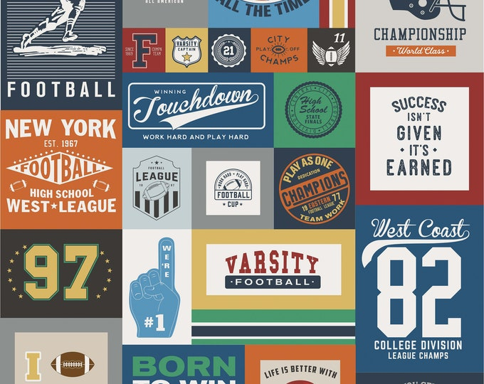 Riley Blake Fabrics - Varsity - Football - 56 Inch x 64 Inch Cotton Woven Fabric Panel