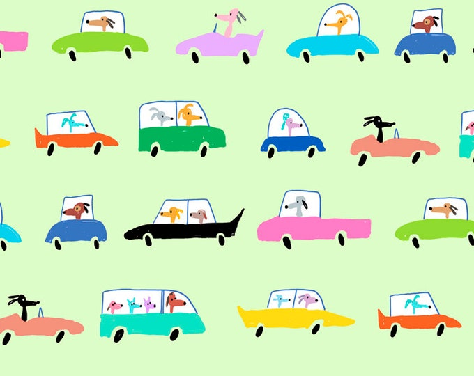 Dogtown - Driving Dogs - Mint - Cotton Woven Fabric - Quilting Treasures