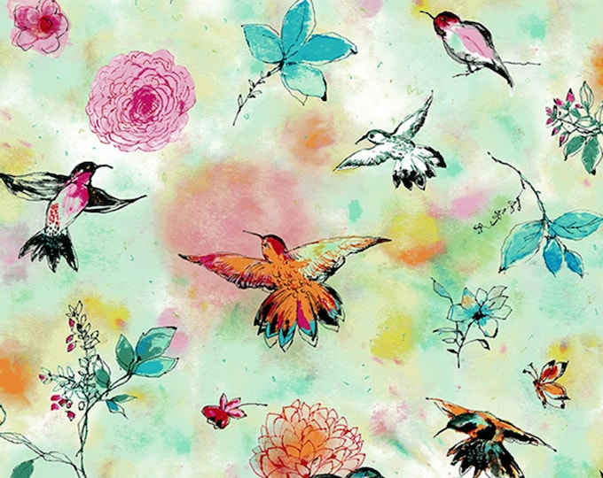 RJR Fabrics - Bloom Bloom Butterfly - Hummingbird Flight Seafoam # RJ1201J-SE1 - Cotton Woven Fabric