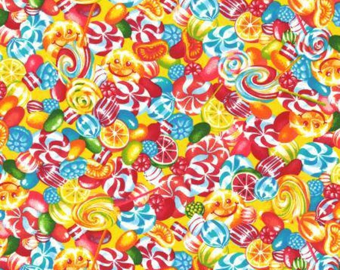 Lecien Fabrics - Candy Shop - Hard Candy, Peppermint, Lollipops on White Cotton Woven Fabric