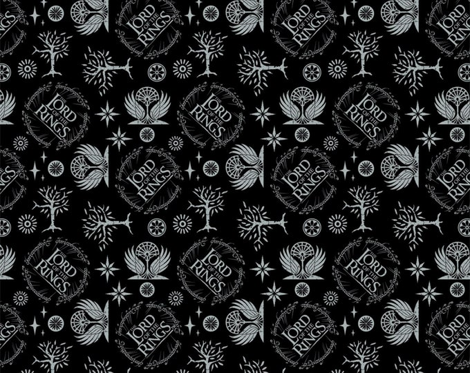Camelot Fabric - Licensed Lord of the Rings - Black Lord of the Rings Logo #23220205-2 Cotton Woven Fabric