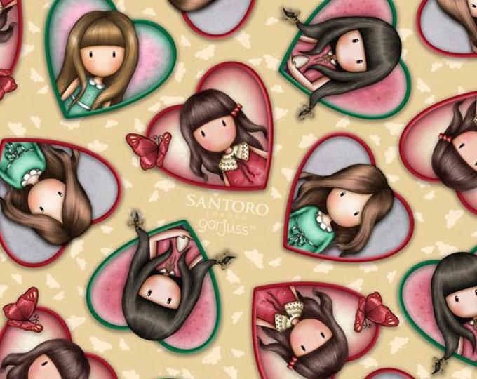 Quilting Treasures - Truly Gorjuss for Santoro - Girls in Hearts Cream 27797 E - Cotton Woven Fabric