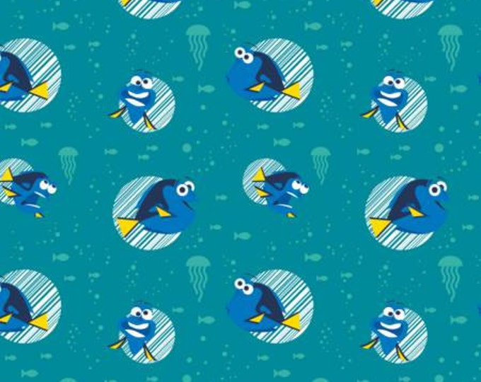 Camelot Fabrics - Finding Dory - Turquoise Disney Finding Dory Faces Cotton Woven Fabric