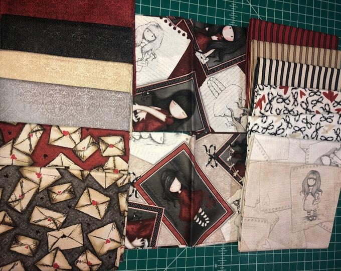 "Quilting Treasures - Gorjuss Heartfelt - Bundle of 15 Fat Quarters  (18"" x 22"")  - Cotton Woven Fabric"