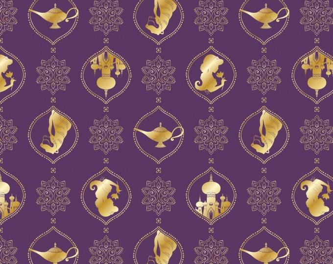 Camelot Fabrics - Licensed Disney's Aladdin - Purple Disney Aladdin Silhouette Damask w:Metallic…#85101310L-2 Cotton Woven Fabric