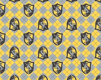 Camelot Fabric - Licensed JK Rowlings Harry Potter - Yellow Argyle Hufflepuff Crest on Flannel # 23800125B-1 100% Cotton Flannel