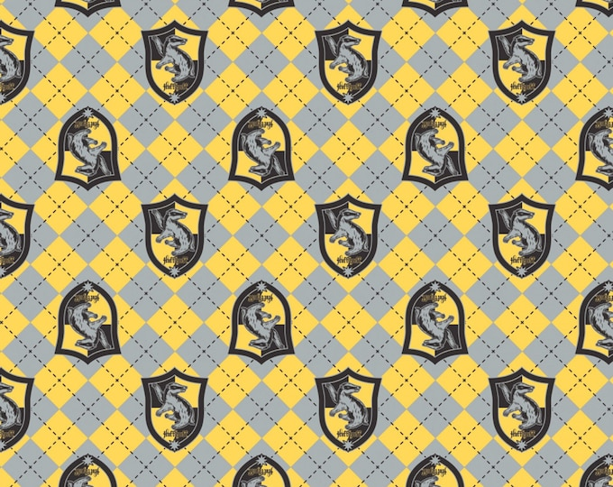 Yellow Argyle Hufflepuff Crest on Flannel # 23800125B-1-Licensed JK Rowlings Harry Potter 100% Cotton Flannel by Camelot