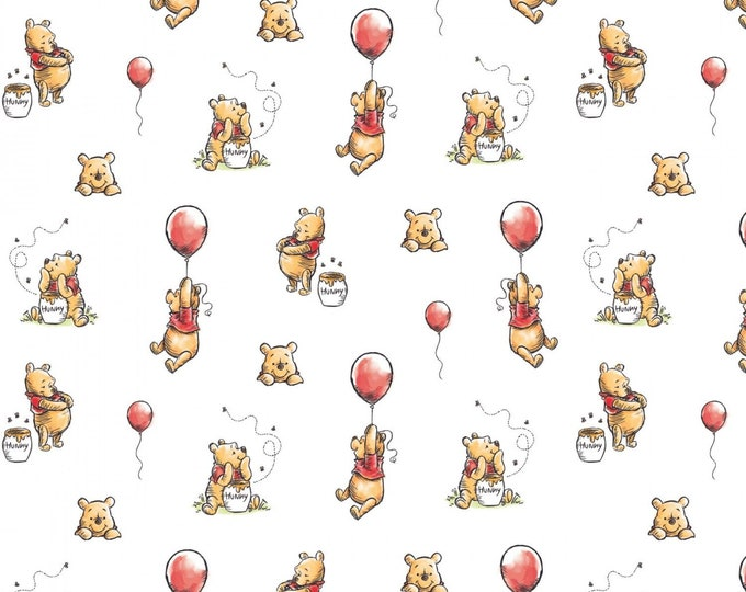 Camelot Fabrics - Licensed Winnie The Pooh Classic - Balloon White # 85430503-1 - Cotton Woven Fabric