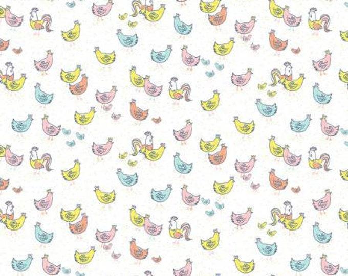 Dear Stella - Deja Moo -The Flock on White - Cotton Woven Fabric