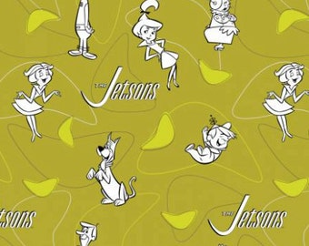 Camelot Fabric - The Jetsons - Line Art on Green Cotton Woven Fabric