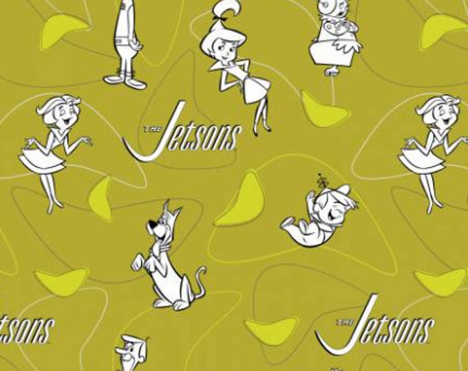 Line Art on Green, The Jetsons by Camelot Fabric