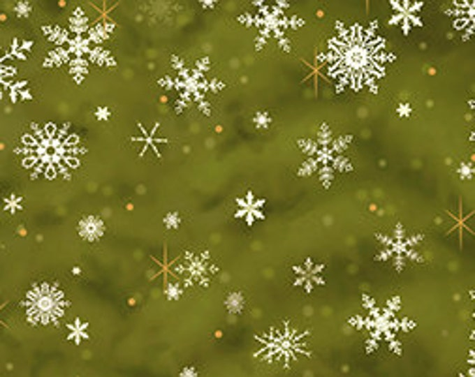 Quilting Treasures - Father Christmas Snowflakes on Green Cotton Woven Fabric