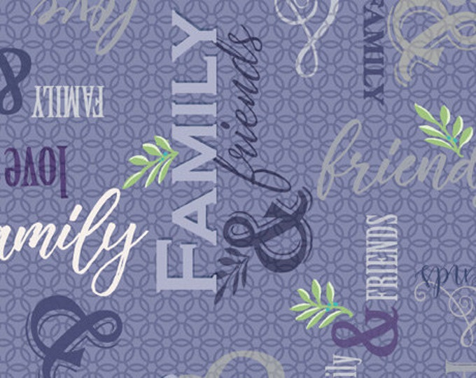 Quilting Treasures - Circle of Friends by Donna Robertson - Dusty Violet Family & Friends Text 27367 V - Cotton Woven Fabric