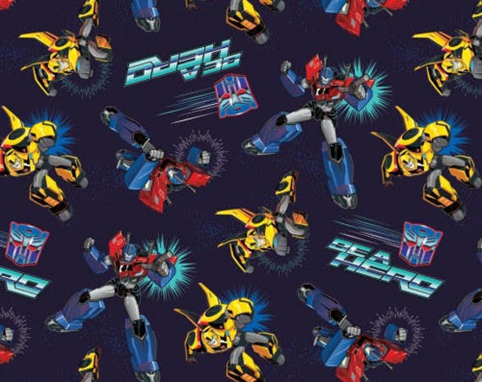 Springs Creative - Transformers - Transformers toss Blue Cotton Woven Fabric