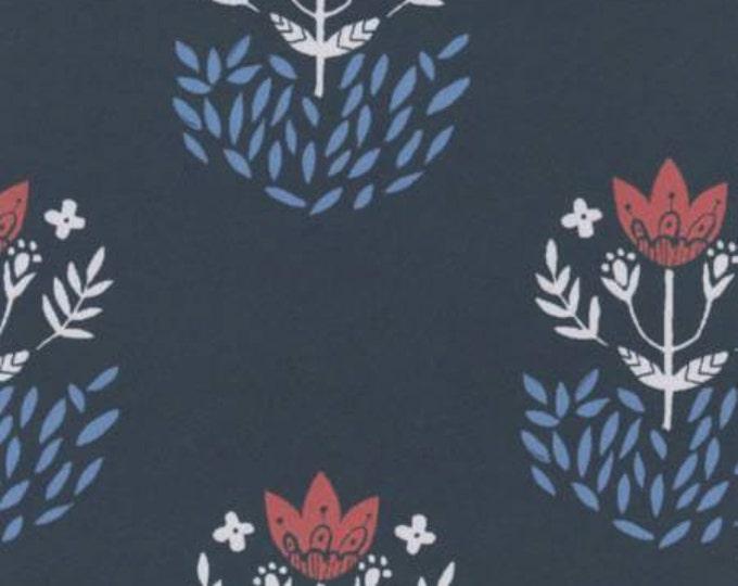Snofall, Fold Foulard Navy Cotton Shirting, Apparel cotton, by Dear Stella