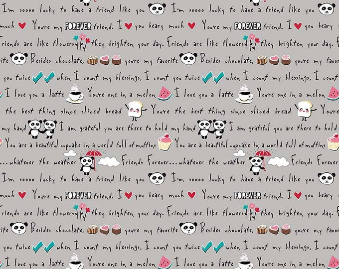 Riley Blake Fabric - Panda Love - Words on Light Gray cotton woven fabric